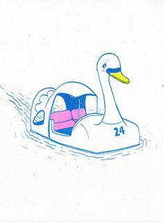 Kichijōji Swan Boat risograph art print by ashleyronning on Etsy
