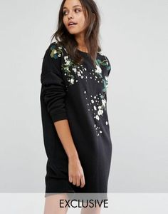 Missguided Embroidered Sweat Dress