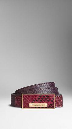 a7c777c5c8563 Python Detail Reversible Leather Belt | Burberry Suspenders, Belt Buckles,  Python, Leather Belts