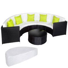 Elegant Rattan Lounge Mit Aluminiumgestell Inkl. Schutzhülle, Halbrund Schwarz