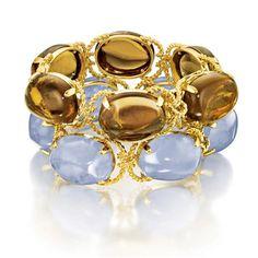 Verdura Pebble Bracelets gold rope with six baroque-shape smoky quartz (top) Also shown in blue chalcedony (bottom). High Jewelry, Modern Jewelry, Jewelry Accessories, Jewelry Design, Unique Jewelry, Vintage Jewellery, Bangle Bracelets, Bangles, Blue Chalcedony