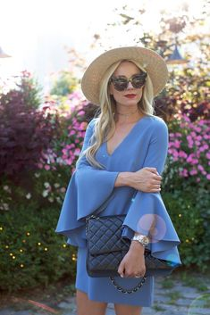 Mini Dress with bell sleeves. Fashion blogger. Chanel purse.