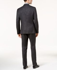 Dkny Men's Slim-Fit Black and Gray Mini Check Wool Suit - Black 36S