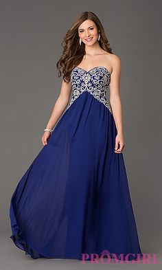 Long Strapless Sweetheart Prom Dress at PromGirl.com in royal blue or tiffany @229.00