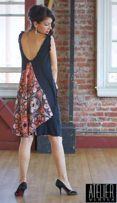 Signature Butterfly Two Piece Dress in black and orabge print. Tango Dress. Party Dress.