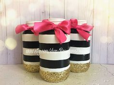 Black and white striped mason jar set, birthday party decor, bathroom decor, dorm decor, home decor