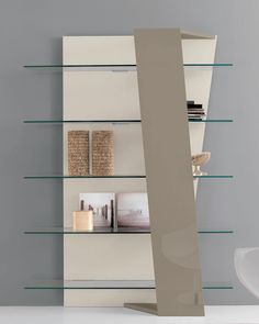Book library in mdf and glass