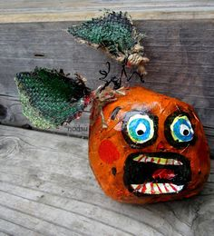 Halloween primitive pumpkin hand painted paper mache by nodsu