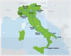 Map of Le Frecce routes