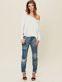 LOVE the patched denim