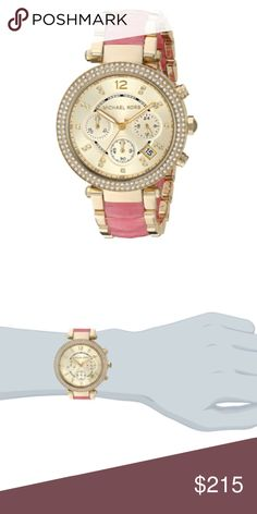 Michael kors pink Parker watch Rose gold-tone stainless steel case and bracelet with tortoise-acetate inset. Fold-over clasp closure with push-button release. Three-hand analog display with quartz movement, three sub-dials and date display window. Chronograph functionality. Dial includes clear crystal hour markers. Dial ring features minute track. Rows of clear crystals in pavé setting at bezel. Water resistant 100 meters  Case Height: 39 mm Case Width: 39 mm Case Depth: 12 mm Band Width…