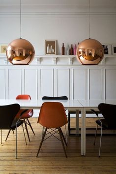 Large Modern Copper Ball Pendants | Multi Colored Eames Shell Chairs | White Wood Paneling