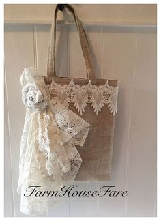 Shabby Chic Large Burlap Bag, Wedding Tote, Gift for Her, Tattered Rosette Applique Holiday Gift Bag, Rustic Lace Tote by FarmHouseFare on Etsy Burlap Purse, Lace Purse, Burlap Bags, Jute Bags, Diy Tote Bag, Boho Bags, Bag Patterns To Sew, Fabric Bags, Handmade Bags