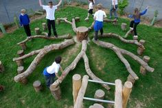 Instead of a traditional climbing structure this can be a natural playground center