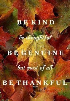 "*Sunday Gratitude* ""Be Kind, be thoughtful, be genuine, but most of all be thankful."" #quote I love this. Another wonderful reminder to be grateful. I am grateful that I am able to share this with you. What are you grateful for today?"