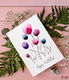 diy birthday cards, watercolour flowers, painted on a white card stock, greenery, on a pink background Creative Birthday Cards, Homemade Birthday Cards, Girl Birthday Cards, Bday Cards, Homemade Cards, Birthday Card For Grandma, Diy Birthday Cards For Mom, Sister Birthday, Homemade Gifts