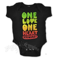 This black Bob Marley onesie features 'One Love One Heart Bob Marley' in bubble letters. The Rasta colors fade in the letters from green to gold to red. Rasta Shirt, Bob Marley Birthday, Jamaica Outfits, Bob Marley T Shirts, Bathing Suits Hot, Rasta Colors, Black Bob, Future Daughter, Monokini Swimsuits