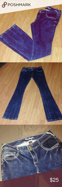 Amethyst Acid wash Jeans Never worn. NWOT. Too small when bought and didn't keep receipt. These jeans are the cutest things ever!! They're soft and stretchy. They have a double button. Boot cut jeans. Cute with sneakers or boots. The back leather logo patch is loose on one edge., was like that when bought. Not noticeable though. Amethyst Jeans Jeans Boot Cut