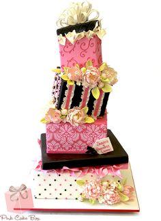 Gift Box Bridal Shower Cake by Pink Cake Box - so pretty