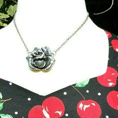 """VINTAGE Silvertone Rose Necklace Beautiful handcrafted silvertone rose necklace. No markings. 7.5"""" chain attached on each side of the rose with a 3"""" extender. The rose is 1.75"""" high x 1.75"""" wide. Vintage  Jewelry Necklaces"""