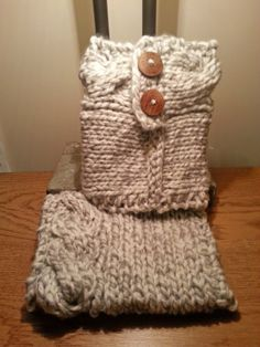 Cable Knitted Boot Cuffs with wood buttons Grey by GraphicsAndMore, $21.99