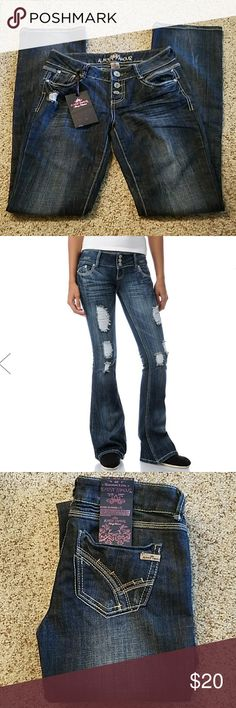 Almost Famous distressed, embroidered flare jeans Dark wash, distressed, with contrasting embroidery including back pockets. Three-button front, low rise. Pic 2 shows fit only. Size 3. Inseam approximately 33 inches. Waist approximately 14 inches across flat with stretch. Front rise approximately 7 inches. 74% cotton, 25% polyester, 1% spandex. New with tags. Tag attached to back was pulled off but still intact, front black envelope slightly scratched, contents intact. Jeans not damaged in…