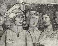 Ambrogio Lorenzetti. San Ludovico da Tolosa prende l'abito di novizio.  Particolare