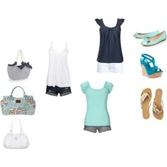 Aqua, Navy and White Summer. Mix and Match., created by honeybanana on Polyvore#Repin By:Pinterest++ for iPad#