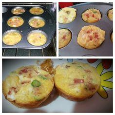 Mufin de huevo con: jamon, queso, champiñones y chile serrano