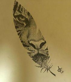 Tigeraugen Tattoo, Body Art Tattoos, Small Tattoos, Sleeve Tattoos, Owl Tattoo Drawings, Tattoo Sketches, Pencil Drawings, Feather Tattoo Design, Feather Tattoos