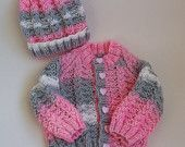 Knitted Baby Sweater & Hat - Handmade - Girls Winter Sweater and Hat - Pink, Grey and White Aran - 3-6 Months - Warm, Cosy Winter Knit