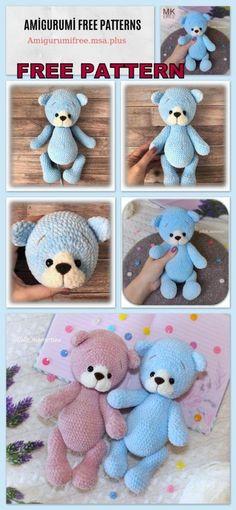 Teddy Bear Amigurumi Free Pattern – Amigurumi Free Patterns – My CMS Knitting Bear, Knitted Teddy Bear, Teddy Bears, Knitting Toys, Free Knitting, Teddy Bear Sewing Pattern, Crochet Bear Patterns, Crochet Toys, Crochet Baby