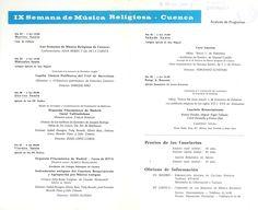 """Folleto con la programación de la IX Semana de Música Religiosa de Cuenca 1970 Acto inaugural conferencia """"Las Semanas de Música Religiosa de Cuenca"""" a cargo de Juan Sierra y Gil de la Cuesta"""