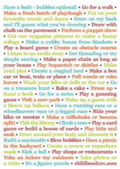 "45 things to do instead of turning on the TV - print this list & hang it on the fridge for those ""I'm bored"" moments"