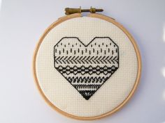 Blackwork Heart embroidery black and white ornament by Hextrovert White Ornaments, Affordable Art, Blackwork, Cufflinks, Coin Purse, My Etsy Shop, Cross Stitch, Embroidery, Unique Jewelry