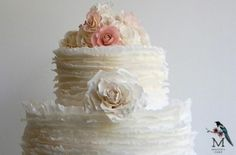 tulle & lace wedding cake. beautiful. by danielle