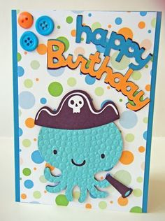 Cricut Octopus Birthday Card. Create a Critter Cartridge.  *