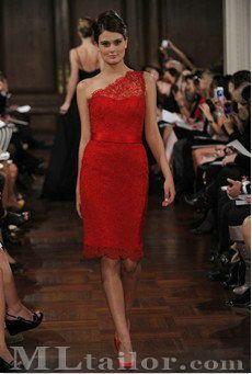 Pretty red lace bridesmaid dress