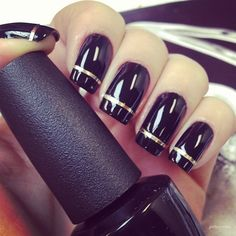 glossy patent black nails with metallic strip