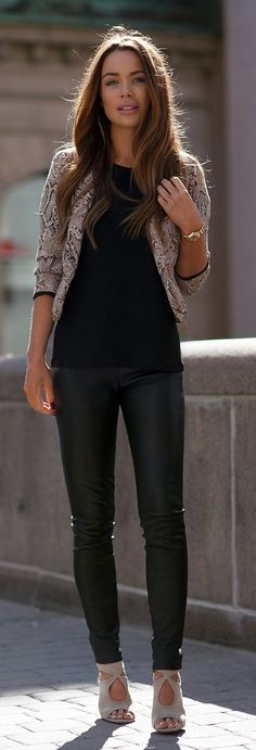 Snake Printed Jacket, Black Leather Pants and Nude Sandals #snake