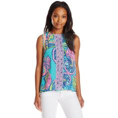 Lilly Pulitzer Women's Iona Sleeveless Silk Shell ($148) ❤ liked on Polyvore featuring tops, lilly pulitzer tank top, silk shell top, sleeveless tank, pattern tank top and silk tank