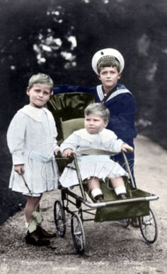 Alexandra's only son, Czarevich Alexei (right) with Princes Georg Donatus and Ludwig, the children of her brother Grand Duke Ernst Ludwig of Hesse and by Rhine.