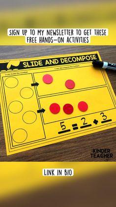 Kindergarten Math Activities, Preschool Math, Math Classroom, Math Resources, Math Games, Teaching Math, Number Activities, Elementary Teaching, Learning Activities