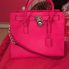 Used once is Beautiful Bright pink Michael Kors bag Michael Kors Bags Totes