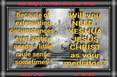 Because of extenuating circumstances , even justice needs a little mule sense sometimes ! Will you NEED , YESHUA JESUS CHRIST as your mediator ?