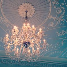 SUCH PRETTY THINGS. Lovely chandy and ceiling.