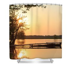 "Sunset Dock Shower Curtain for sale by Inspired Arts.  This shower curtain is made from 100% polyester fabric and includes 12 holes at the top of the curtain for simple hanging.  The total dimensions of the shower curtain are 71"" wide x 74"" tall. #peaceful #nature #dock"