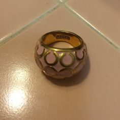 """Coach ring Beautiful pale pink with signature gold played Coach """"C"""" Coach Jewelry Rings"""