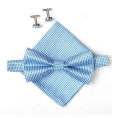 Men's Bow Tie Set includes Matching Pocket Square and Cufflinks - Light Blue
