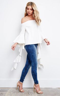 Le Bow White Off Shoulders Frill Sleeves Top Product photo